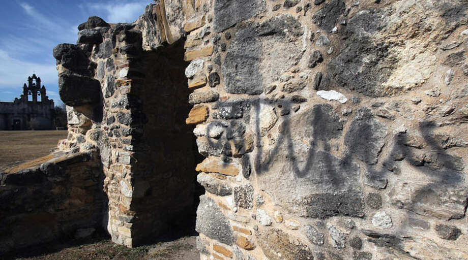 Graffiti has been found on buildings at Mission San Juan. Photo: JOHN DAVENPORT/jdavenport@express-news.net