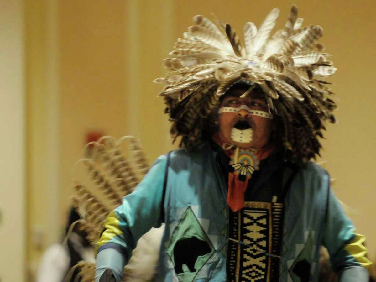 Mi'kmaq Indian, Don Barnaby, dances the northern traditional dance during the Rock, Rattle and Drum Pow Wow at the Crowne Plaza in Albany on Sunday, Jan. 2, 2011 (PAUL BUCKOWSKI/Times Union)