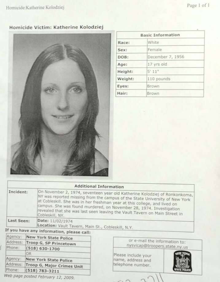 The case information sheet on homicide victim Katherine Kolodziej at Princetown State Police Station in Schenectady.  (Lori Van Buren / Times Union) Photo: Lori Van Buren