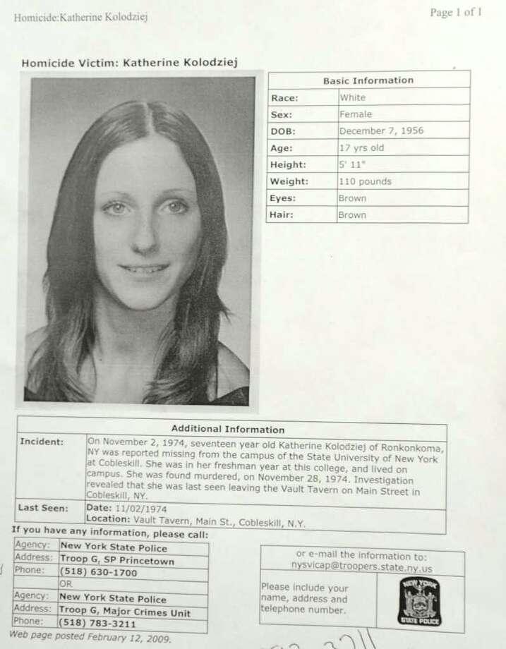 The case information sheet on homicide victim Katherine Kolodziej at Princetown State Police Station in Schenectady.  (Lori Van Buren / Times Union) Photo: Lori Van Buren