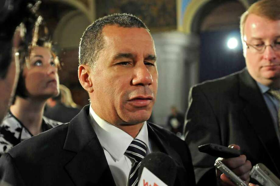 Former Governor David Paterson talks to the press after Governor Andrew Cuomo's inauguration speech at the Capitol in Albany, NY on January 1, 2011. (Lori Van Buren / Times Union) Photo: Lori Van Buren