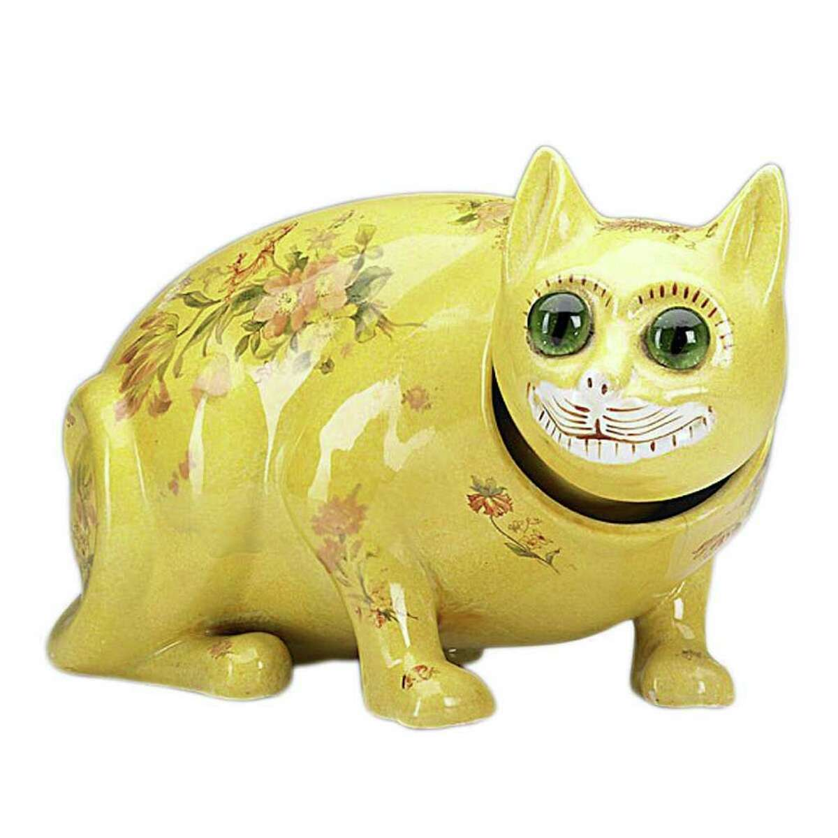 Any Galle pottery cat is amusing and unusual. This yellow cat has large round glass eyes and small transfer decorations on its body. Even with a hairline crack, the 5-1/2-by-10-inch figure sold for $800 at a November Rago auction in Lambertville, N.J.