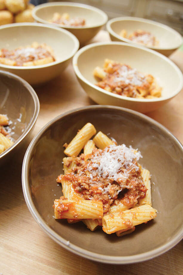 Chef Bobby Mallozzi is part of a Rotterdam-based family that oversees a veritable empire of eating establishments, including Villa Italia, the Brown Derby and the restaurant at Albany's Italian American Community Center. Shown here, Bobby's Rigatoni Bolognese. (Suzanne Kawola/Life@Home) Click here to read the story.