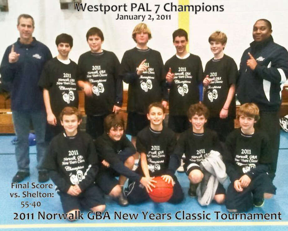 The Westport PAL 7 boys basketball team won the 2011 Norwalk GBA New Years Classic tournament on Sunday at the Ben Franklin School in South Norwalk with a 55-40 victory over Shelton. Team members, front row, from left, are, Graham Gudis, Noah Staffa, Adam Friedman, Dylan Dreyfuss and Conor Chamberlain; back, Assistant Coach Jeremy Vishno, Ryan Angerthal, Jackson Ward, John Fincher, Jared Vishno, Daniel Brill and Coach Shaun Malone. Photo: Contributed Photo / David Dreyfuss