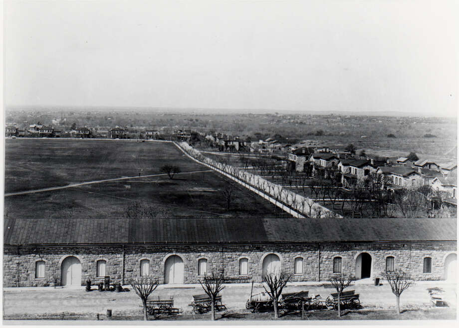 Fort Sam Houston's Soap Suds Row runs toward the back of a photo shot from the tower in the Quadrangle around 1895. The post's current S-2, or Secondary Road, is being renamed Soap Suds Row. Photo: Courtesy