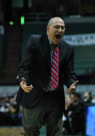 Siena College men's basketball coach Mitch Buonaguro saw his team get a much-needed Metro Atlantic Athletic Conference victory as it beat Iona 73-67 Monday night at Times Union Center in Albany.  ( Philip Kamrass / Times Union ) Photo: PHILIP KAMRASS