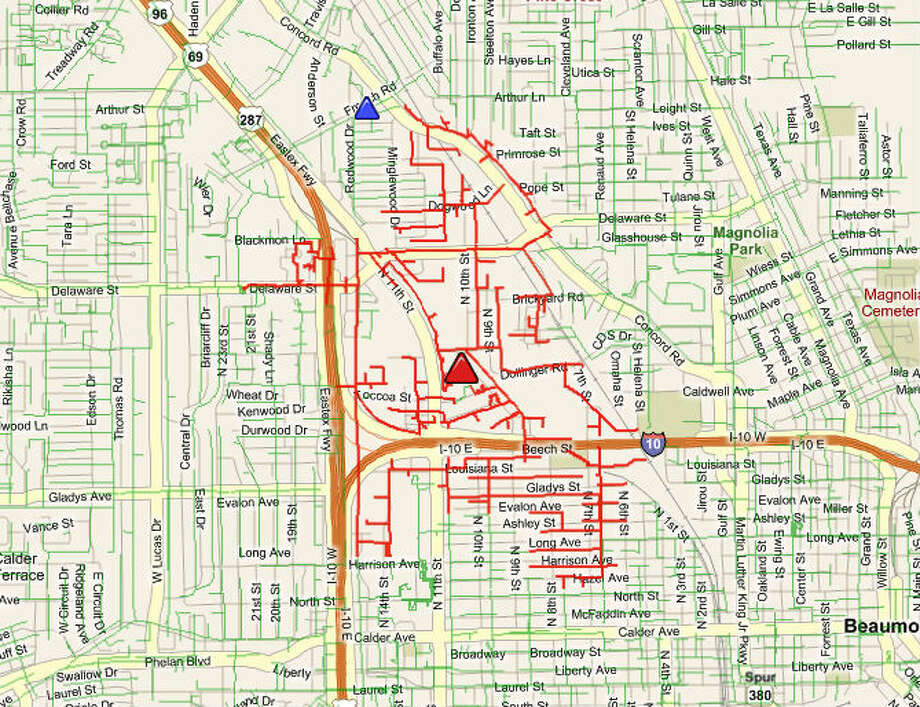 More than 1,300 Beaumont residents are without power on the morning of Jan. 4. Graphic from the Entergy Storm Center website