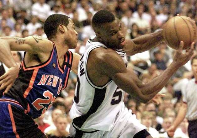 David Robinson, also a career Spur, averaged a double-double in nine seasons, from 1989-96 and 1997-99. His career averages were 21.1 points and 10.6 rebounds. His best season on the boards was 1990-91, when he averaged 13.0 rebounds and 25.6 points. In 1993-94, he had his career-high scoring average of 29.8 and had 10.7 rebounds. Photo: JEFF HAYNES, AFP/Getty Images / AFP