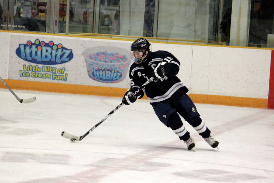 Staples junior captain Kyle Wehmhoff scored a goal on Dec. 28 in an 8-2 victory at Immaculate-New Fairfield. The Wreckers raised their record to 5-0 with the win. Photo: Contributed Photo / Anna Andriuk