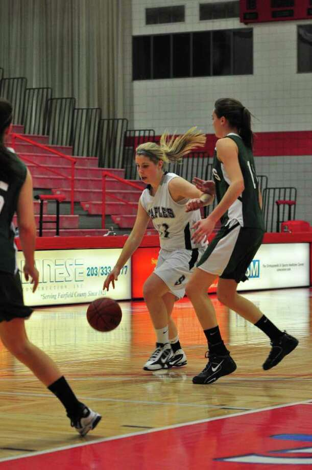 Staples senior captain Nikki Brill had eight points, 11 rebounds and six steals last Werdnesday in a 40-29 loss to Mansfield, Mass. at Sacred Heart University in the Notre Dame Holiday Tournament. Brill was selected to the all-tournament team. Photo: Contributed Photo / Tom Werner