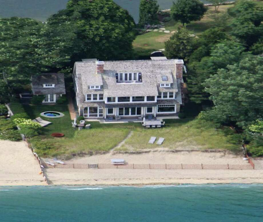 """An aerial view of the waterfront house at 46 Compo Mill Cove in Westport, nicknamed """"Sandbar."""" Photo: Contributed Photo / Westport News contributed"""