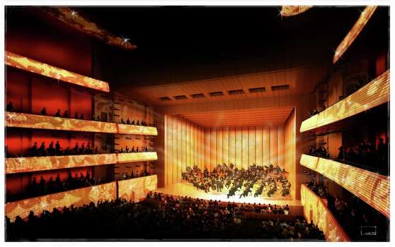 A rendering of the interior of the Marmon Mok renovated Tobin Center for the Performing Arts.