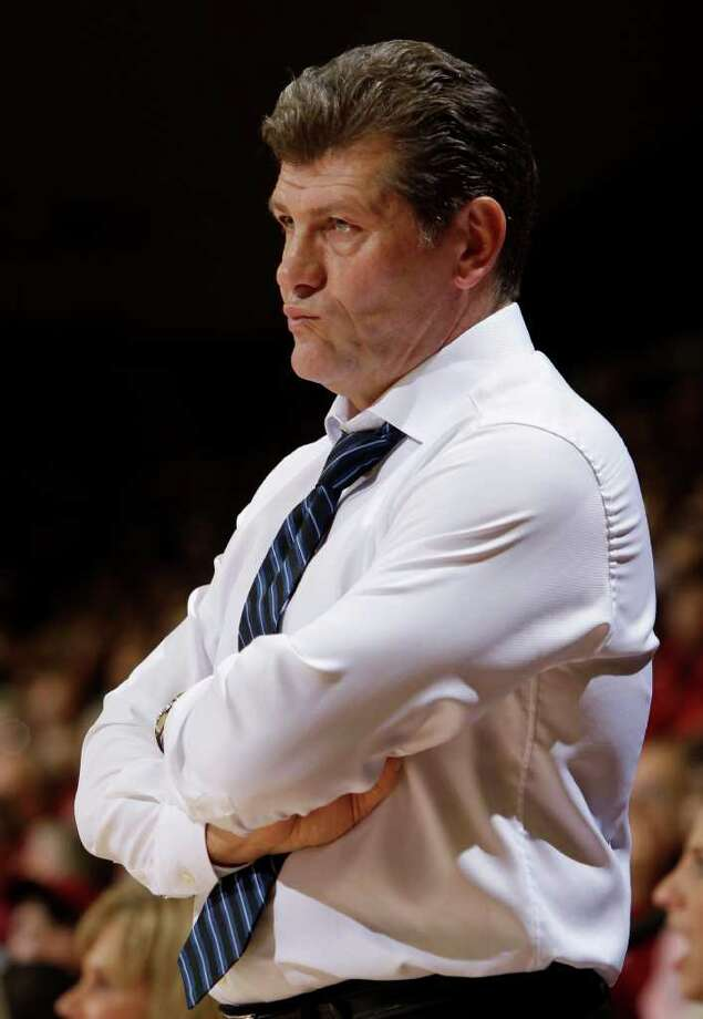 Connecticut coach Geno Auriemma watches during the first half of Connecticut's 71-59 loss to Stanford in an NCAA college basketball game in Stanford, Calif., Thursday, Dec. 30, 2010. (AP Photo/Paul Sakuma) Photo: AP