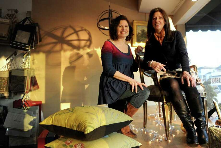 Anne Sices Pigué, left, and Beth Santa, right, pose for a portrait in Nest in Southport on Tuesday, January 4, 2010. Photo: Lindsay Niegelberg / Connecticut Post