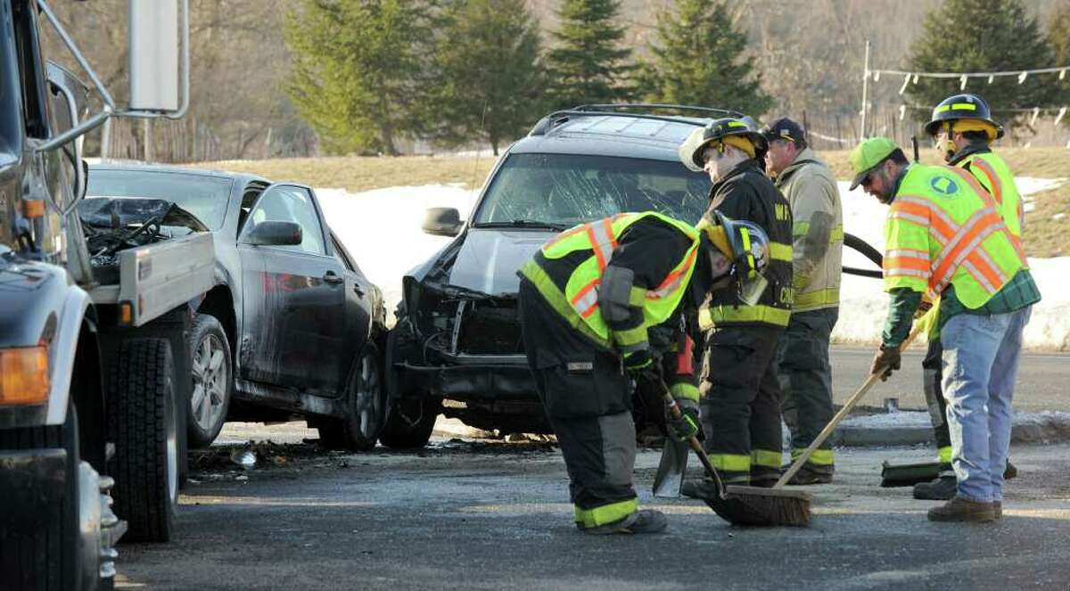A four vehicle accident at 7:30 a.m. on Wednesday on Route 7 in New Milford, shut down traffic in both directions.