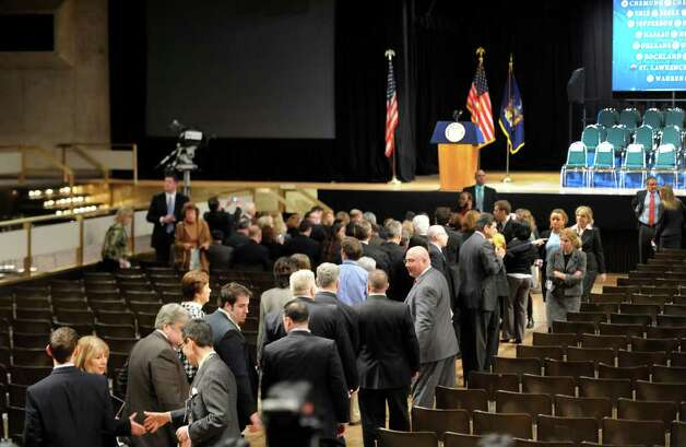 After a sweep of the facility, the public is allowed to enter the Convention Center in the Empire State Plaza in Albany before Gov. Andrew Cuomo makes his first State of the State speech January 5, 2011.  (Skip Dickstein / Times Union) Photo: SKIP DICKSTEIN / 2008