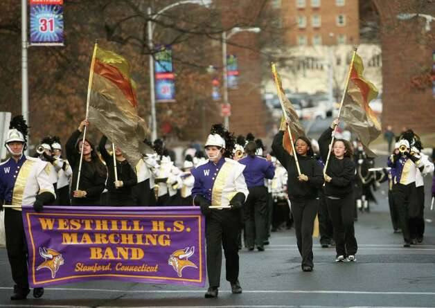 The Westhill High School Marching Band from Stamford marches in the Inaugural Parade of new Connecticut Governor Dan Malloy in downtown Hartford on Wednesday, January 5, 2011. Photo: Brian A. Pounds / Connecticut Post