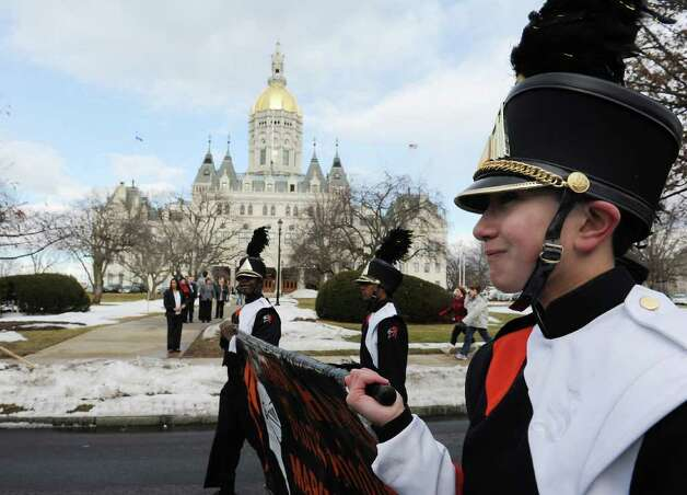 David Rutstein marches with the Stamford High School marching band along Capitol Ave. during the Inaugural parade along in Hartford, Conn. on Wednesday, January 5, 2011. Photo: Kathleen O'Rourke / Stamford Advocate