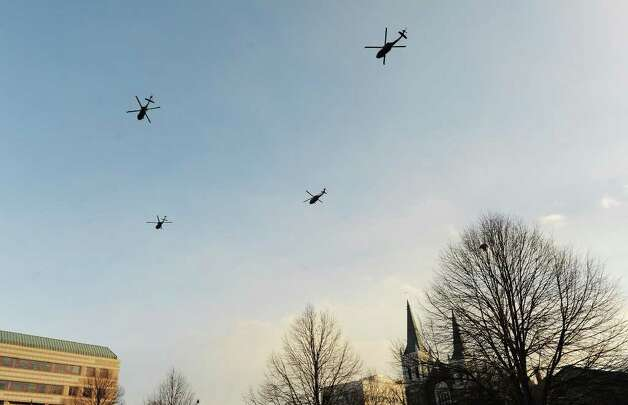 Black Hawk helicopters perform the flyover during the Ruffles and Flourishes portion of the Inaugural Ceremony for Governor Dannel P. Malloy at the State Armory in Hartford, he Conn. on Wednesday, January 5, 2011. Photo: Kathleen O'Rourke / Stamford Advocate