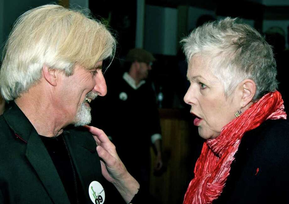 Actor and community activist Lynn Redgrave, 67, a resident of Kent who died in May, is shown here relishing an April  chat with Kent Film Festival director Frank Galterio. Photo: Trish Haldin / The News-Times Freelance