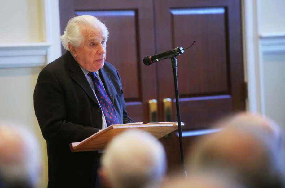 Seymour Topping, a former New York Times correspondent and editor, speaks on Cold War history to the Retired Men's Association, at the First Presbyterian Church, in Greenwich, on Wednesday, Jan. 5, 2011. Photo: Helen Neafsey / Greenwich Time