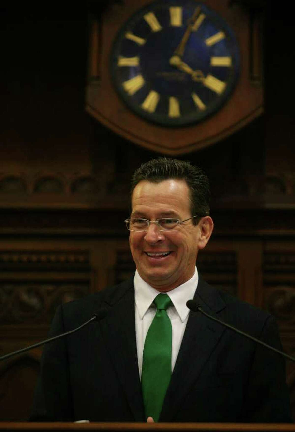 New Connecticut Governor Dannel Malloy addresses a joint session of the Connecticut General Assembly after his inauguration in Hartford on Wednesday, January 5, 2011.
