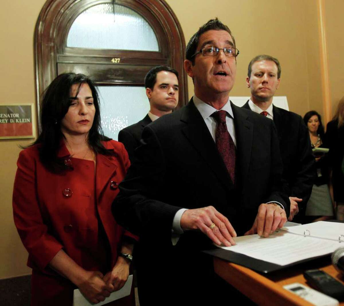 Sen. Jeffrey Klein, D-Bronx, speaks during a news conference at the Capitol where he announced that he and three other Democratic senators were forming an independent Democratic conference in Albany. Joining Klein, from left, are Sens. Diane Savino, David Carlucci and David Valesky. Mike Groll/Associated Press)