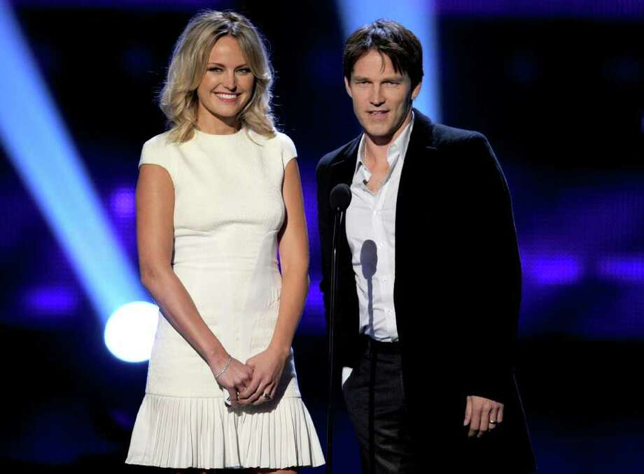 LOS ANGELES, CA - JANUARY 05:  Actors Malin Akerman (L) and Stephen Moyer speak onstage during the 2011 People's Choice Awards at Nokia Theatre L.A. Live on January 5, 2011 in Los Angeles, California.  (Photo by Kevin Winter/Getty Images) *** Local Caption *** Malin Akerman;Stephen Moyer Photo: Kevin Winter, Getty Images / 2011 Getty Images