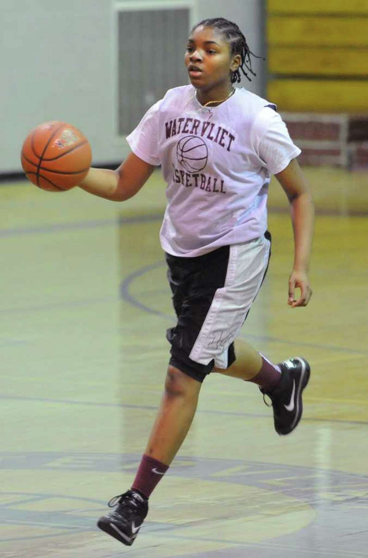 Watervliet sophomore center Lashona Tolliver worked hard this past summer, developing her post skills and ballhandling during AAU competition with the Saratoga Sparks. (Lori Van Buren / Times Union)