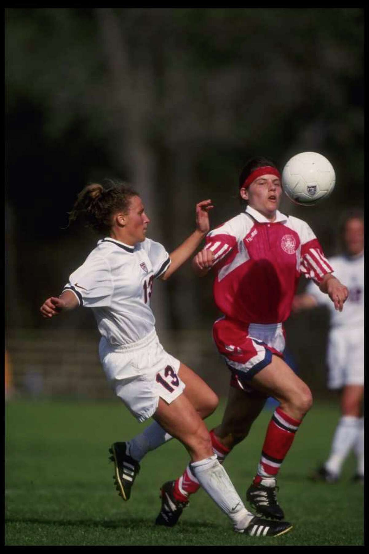 Feb 1995: Kristine Lilly of the USA in action during the USA''s soccer game versus Denmark in Orlando, Florida. Mandatory Credit: Mike Powell/Allsport
