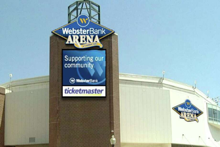 An computer generated rendering of new signage. Webster Bank, a leading New England commercial bank, has entered into a ten-year naming rights agreement for the Arena at Harbor Yard in Bridgeport, Connecticut with Centerplate. Effective immediately, the Arena will be named Webster Bank Arena at Harbor Yard. Photo: Contributed Photo / Connecticut Post Contributed