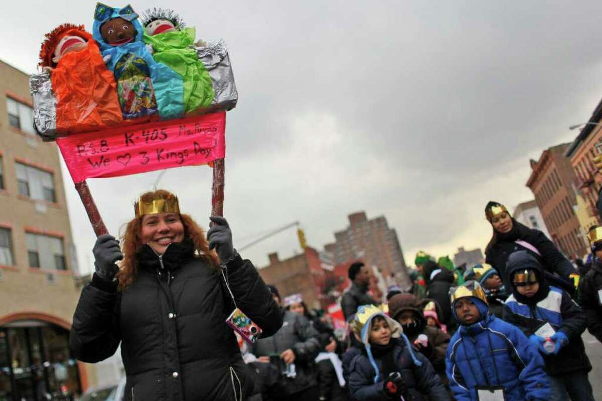 Students from P.S. 8 participate in El Museo del Barrio's 34th annual Three Kings Day parade, Thursday, Jan. 6, 2011, in New York.