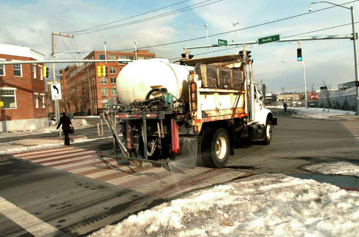 City of Stamford, Conn. truck sprays a pre-treatment of salt brine on the Urban Transitway on Thursday January 6, 2011 in preparation for snow storm predicted for Friday