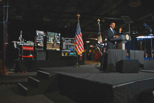 President Barack Obama speaks at Hudson Valley Community College in Troy.  (Philip Kamrass / Times Union)