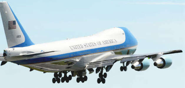 Air Force One departs from Albany International Airport Monday afternoon.  (Luanne M. Ferris / Times Union)