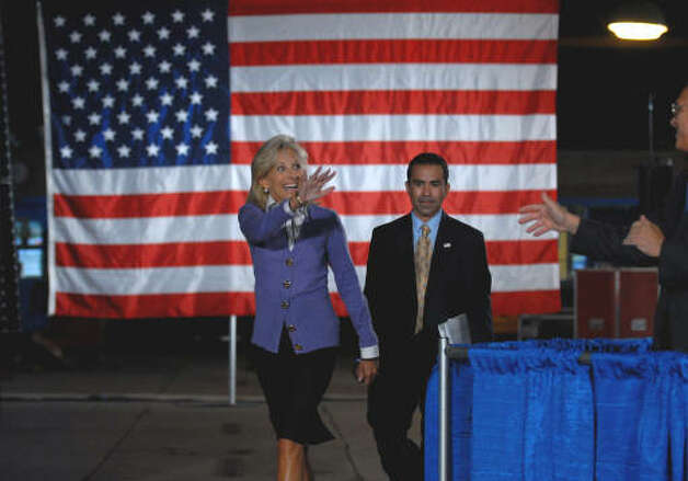 Dr. Jill Biden, wife of Vice President Joseph Biden, waves to the crowd after arriving to introduce President Barack Obama at Hudson Valley Community College in Troy, for a speech on education and the economy Monday September 21, 2009.  (Philip Kamrass / Times Union)