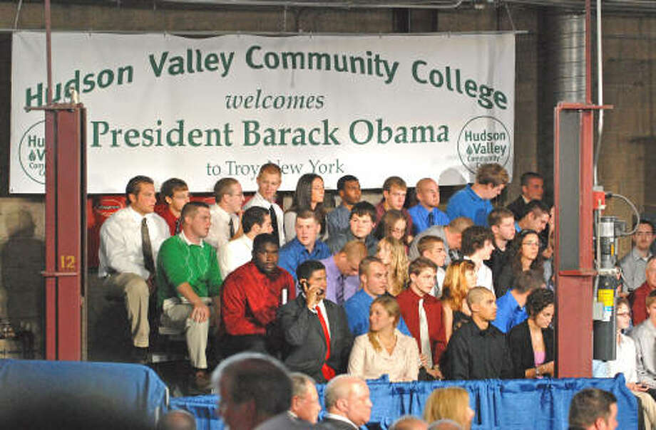 HVCC students wait for President Barack Obama to make a speech about the economy and community colleges at Hudson Valley Community College in Troy.  (Lori Van Buren / Times Union)