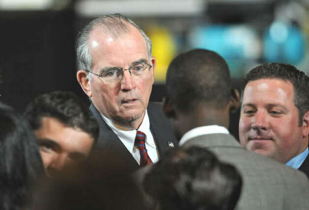 Albany County Executive Michael Breslin greets people before President Obama makes a speech about the economy and community colleges at Hudson Valley Community College in Troy on Sept. 21, 2009.  (Lori Van Buren / Times Union)