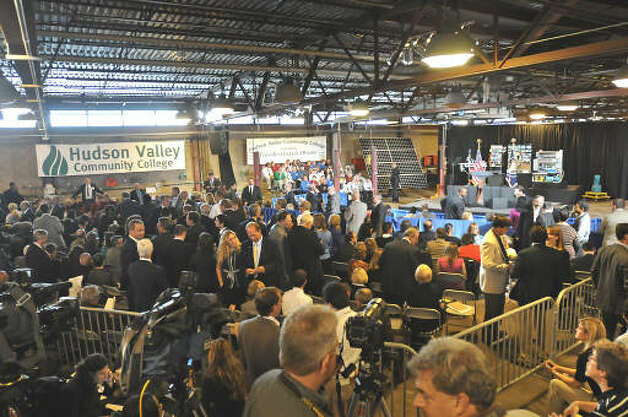 People wait for President Barack Obama to make a speech about the economy and community colleges at Hudson Valley Community College in Troy.  (Lori Van Buren / Times Union)