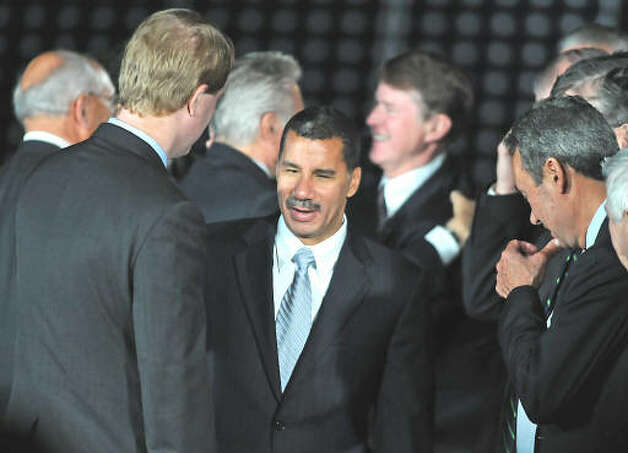 Gov. David Paterson greets U.S. Rep. Scott Murphy before President Obama makes a speech about the economy and community colleges at Hudson Valley Community College in Troy on Sept. 21, 2009.  (Lori Van Buren / Times Union)