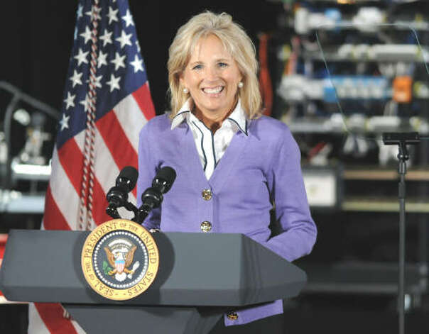 Jill Biden introduces President Obama at Hudson Valley Community College in Troy on Sept. 21, 2009.  (Lori Van Buren / Times Union)