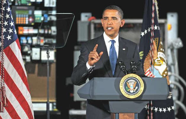 President Barack Obama makes a speech about the economy and community colleges at Hudson Valley Community College in Troy on Sept. 21, 2009.  (Lori Van Buren / Times Union)