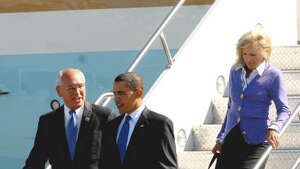 Congressman Paul Tonko escorts President Obama as they emerge from Air Force One, at the Albany International Airport on Monday, Sept 21, 2009.  (Luanne M. Ferris / Times Union)