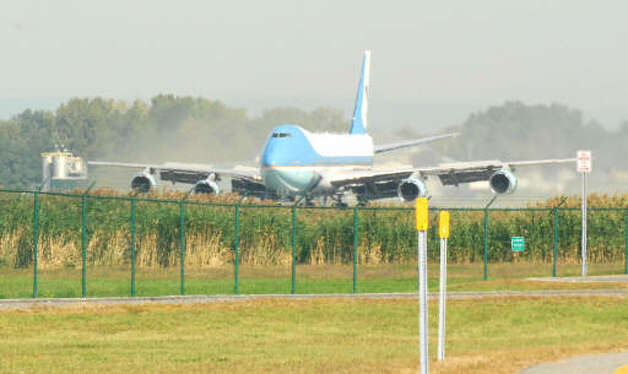 Air Force One lands at Albany International Airport Monday morning. President Barack Obama is scheduled to speak at Hudson Valley Community College Monday. (Will Waldron / Times Union)