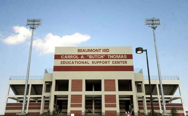 "The Carrol A. ""Butch"" Thomas Educational Support Center hosts it's open house in Beaumont, Thursday. While finishing touches are still being added, the new stadium is game day ready. Tammy McKinley/The Enterprise Photo: TAMMY MCKINLEY / Beaumont"