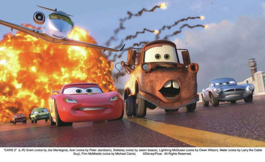 """CARS 2"": (L-R) Grem (voice by Joe Mantegna), Acer (voice by Peter Jacobson), Siddeley (voice by Jason Isaacs), Lightning McQueen (voice by Owen Wilson), Mater (voice by Larry the Cable Guy), Finn McMissile (voice by Michael Caine). (Disney/Pixar) / ©Disney/Pixar.  All Rights Reserved."