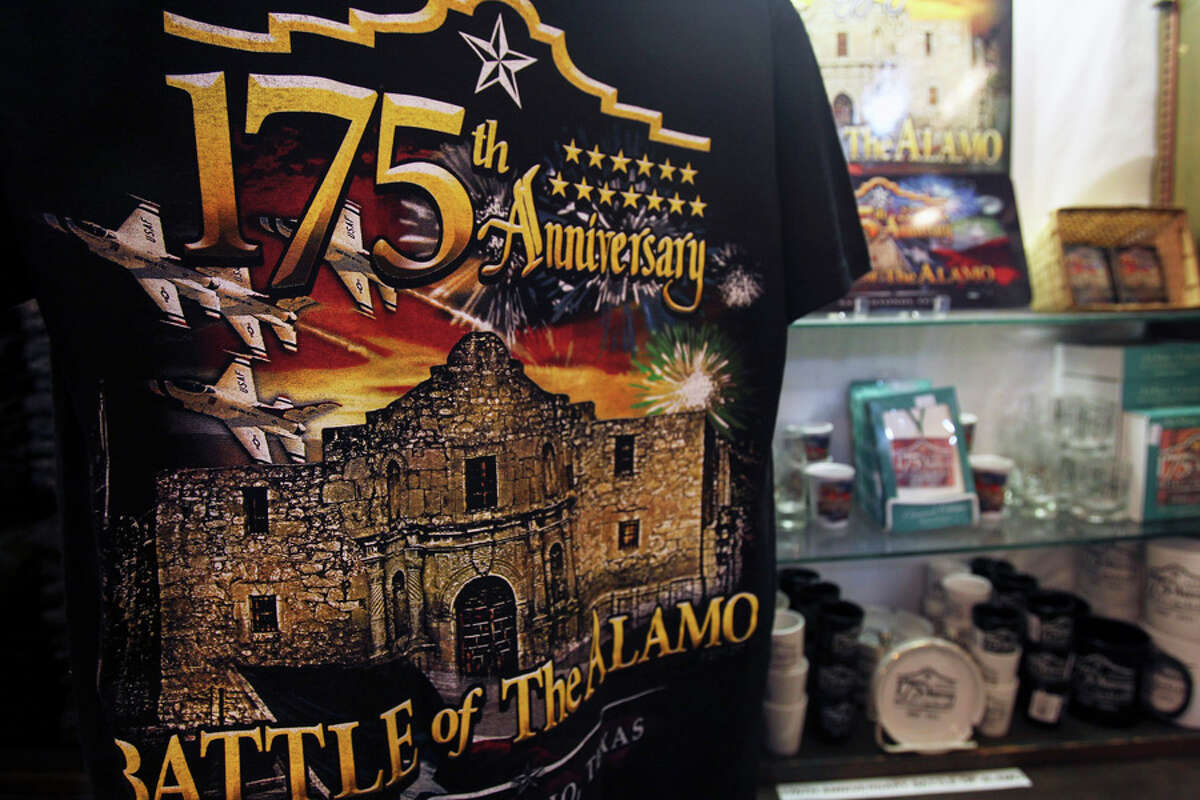 A tee shirt is among the items for sale on Jan. 6 at the Alamo gift shop commemorating the 175th anniversary of the Battle of the Alamo.