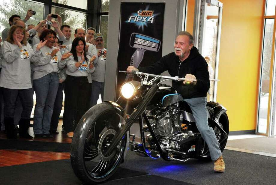 Paul Teutul, Sr., star of the hit television show American Choppers and owner of Orange County Choppers, enters BIC Corporation in Shelton on Friday, Jan. 7, 2011 unveiling the BIC Flex4 motorcycle. Photo: Amy Mortensen / Connecticut Post Freelance