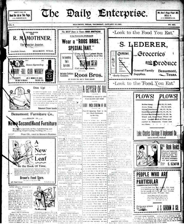 Thursday, January 10, 1901 edition of The Daily Enterprise