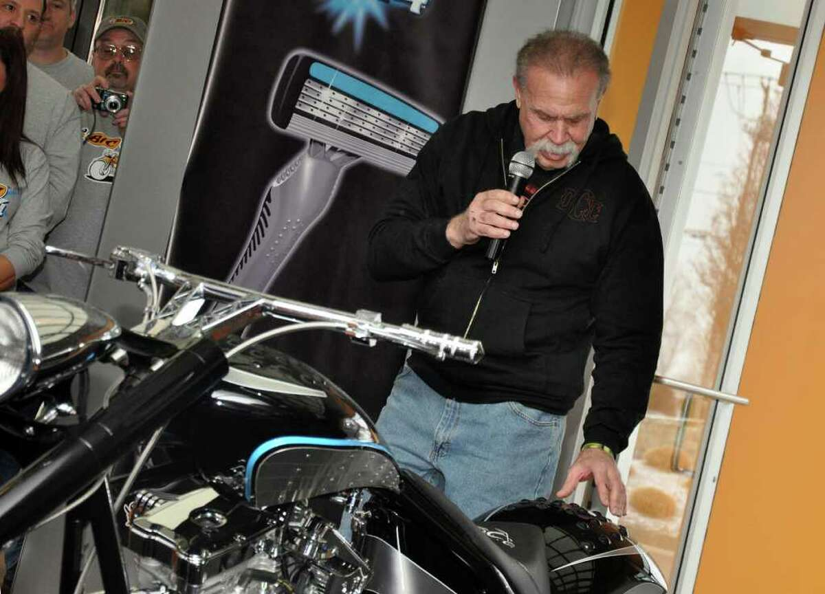 Paul Teutul, Sr., star of the hit television show American Choppers and owner of Orange County Choppers, unveils the BIC Flex4 motorcycle at BIC Corporation in Shelton on Friday, Jan. 7, 2011. Teutul explains how the detailing of the motorcycle's fender draws on elements of the BIC Flex4 razor handle.